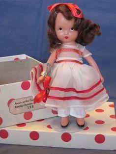 """Nancy Ann Storybook """" #129 Annie at the Garden Gait"""" original box and wrist tag #NancyAnnStorybook #vintageNancyAnnStorybookbisquedoll"""