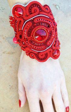 soutache bracelet bridal bracelet red bracelet от AtelierMagia