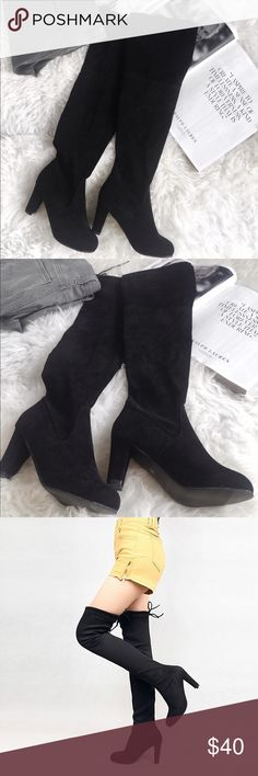 "Over The Knee Suede Boots Beautiful over the knee boot in size 7. True to size! Brand new, never worn.   ↠Pull on style, no zipper  ↠Drawstring in back at top to adjust to leg width and prevent slippage or slouching ↠3.8"" heel Shoes Over the Knee Boots"