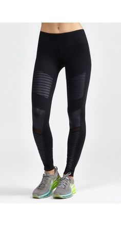 Step up your street style with these edgy moto leggings. Quilted-style stitching on contrast glos...