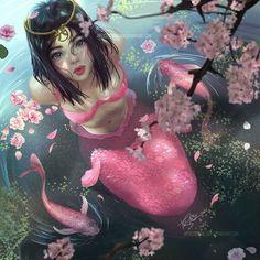 Mermaid by Toshia-san Mermaid Artwork, Mermaid Drawings, Mermaid Paintings, Fantasy Mermaids, Mermaids And Mermen, Fantasy Creatures, Mythical Creatures, Fantasy World, Fantasy Art