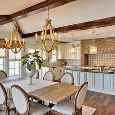 Open concept kitchen dining room floor plans plan living layout lighting to small ideas Dining Room Design, Dining Room Furniture, Kitchen Dining, Dining Table, Open Kitchen, Dining Area, Round Dining, Country Kitchen, Kitchen Decor