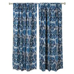 Set of two cotton curtain panels in navy with an ikat motif. Made in the USA.    Product: Set of 2 curtain panelsCon... My fabric while at Duralee...