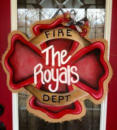 Fire Fighter Cross Shield Hand Painted Burlap Door Hanger or maybe police or military Firefighter Crafts, Firefighter Family, Mirror Hangers, Burlap Door Hangers, Wall Mirror, Burlap Crafts, Wood Crafts, Wooden Doors, Wooden Signs