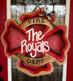 100% Custom Made to Order Burlap Fire/Police/Paramedic Shield Door/Wall/Mirror Hanger.