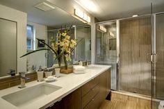 Contemporary 3/4 Bathroom with Caesarstone 1141 Pure White, Limestone Tile, Handheld showerhead, Flush, Double sink