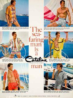 1960 Ad Vintage Catalina Swim Trunks Suit Swimsuit Mad Men Fashion Style Sailing