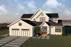 This farmhouse design floor plan is 3403 sq ft and has 4 bedrooms and has 3 bathrooms. Modern Farmhouse Plans, Farmhouse Design, Farmhouse Style, Loft Spaces, Back Patio, Walk In Pantry, Great Rooms, Floor Plans, Backyard