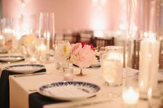 Classic Mansion Wedding | Blue, White, Blush, Red | Table Scape | Candlelight | Place Setting