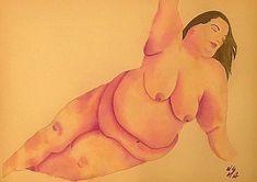 """Magnificent in repose"", Angelina Duplisea @anactingangel, completed artwork, 770mm x 570mm, gouache, 14/03/18 #bodypositive #bodypositivity #fatacceptance #bodyconfidence #loveyourself #magnificient #fatandglorious #art #fatart #fatnudes #gouache"