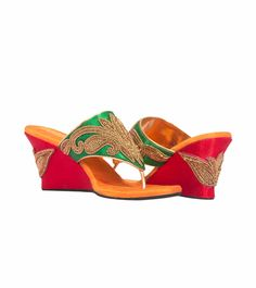 Red & Green Gaji Silk Embroidered Heels #indianroots #indianfootwear #embroidered #designerfootwear
