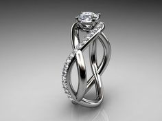 I love this swirly band. 14kt white gold diamond engagement ring by EternityCollection, | best-diamonds-gal...