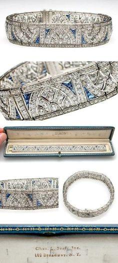Art Deco  Platinum, Diamond  Blue Sapphire Cuff Bracelet, circa 1920