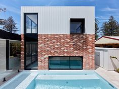Modern home exterior design Weatherboard Exterior, Recycled Brick, Clerestory Windows, Exterior House Colors, Brickwork, House Front, Outdoor Rooms, Cladding, Interior Architecture
