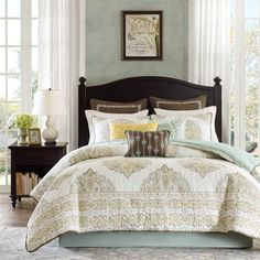 JLA Harbor House Miramar 4 Piece Cotton Comforter Set in Multi Yellow Bedding Sets, Full Comforter Sets, Yellow Comforter, Damask Bedding, Luxury Bedding, Coastal Bedding, Queen Bedding, Modern Bedding, Queen Quilt