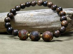 Mens Bracelet - Wood Bracelet - Mans Jewelry - Mens Fashion - Beaded Bracelet - Stretch Bracelet. #men'sjewelry