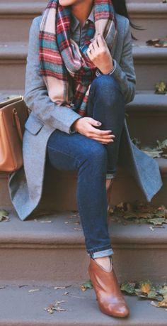 #fall #outfits / gray coat + tartan scarf