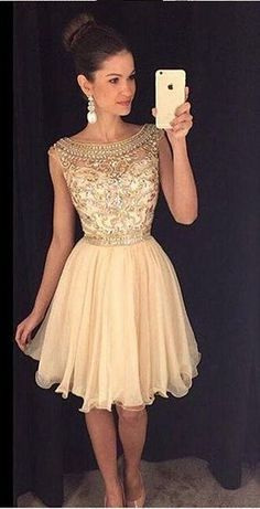 Cute champagne chiffon short prom dress with beautiful top details, homecoming dress 2016