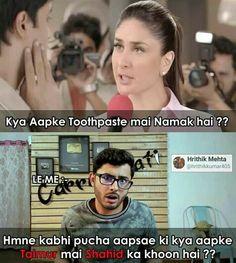 Bhai ye question toh bas carryminati hi puch skta hai karina se Funny Long Jokes, Very Funny Memes, Sarcastic Jokes, Funny Fun Facts, Latest Funny Jokes, Funny Jokes In Hindi, Funny School Memes, Funny Jokes For Adults, Funny True Quotes
