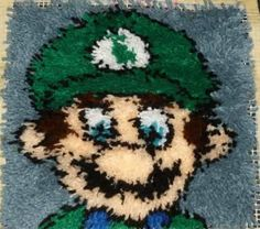 Matio or Luigi - 12X12 Latch Hook Kit - Free Shipping. $14.25, via Etsy.