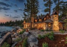 witch in Hansel and Gretel went all out when she built her home.or is there such a thing as midieval mountain style home? Mountain Home Awards Elemental Excellence : Future House, My House, Haus Am See, Mountain Homes, Mountain Style, Mountain Cabins, Log Cabin Homes, Log Cabins, Tahoe Cabins