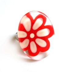 Flower red  and white ring  hand painted glass  by azurine on Etsy, $25.00