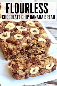 Flourless Chocolate Chip Bananenbrot - Best Picture For Keto Snacks for be Oatmeal Banana Bread, Chocolate Chip Banana Bread, Chocolate Chips, Clean Banana Bread, Protein Banana Bread, Dove Chocolate, Sugar Free Banana Bread, Baked Oatmeal Cups, Easy Healthy Banana Bread