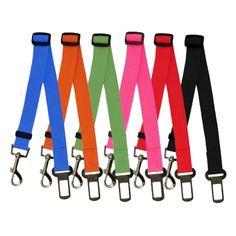 Dog & Cat Adjustable Car Safety Belt Collar 6 Colors Pet Puppy Pup Hound…