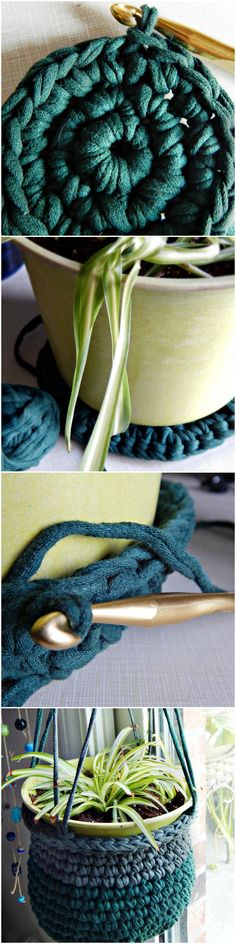 T-shirt Yarn Plant Hanger - Free Pattern from Morale Fiber Blog