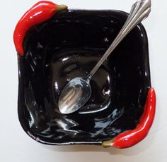 Chili Peppers!  Square Black Ceramic Chili Bowl Rustic by WildCrowFarmPottery, $24.00