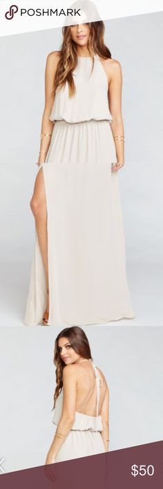 Show Me Your Mumu Halter Dress Show Me Your Mumu Heather Halter Dress Color: Show Me The Ring Crisp Size: M (6-8)  Little spot on the front of the dress put would most likely come out if cleaned. Show Me Your MuMu Dresses Maxi