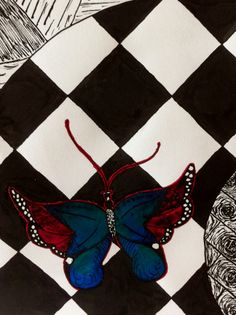 Detail: butterfly black ink en coloured ink Student L. art teacher MNr