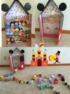 Tsum Tsum storage (in Micky's house) - DIY from a flat shipping box.