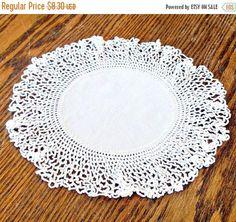 ON SALE Vintage Crocheted Doily Handmade Round White Doily