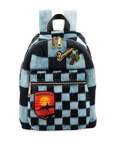 MARC JACOBS Biker Patchwork Denim Backpack d223b74651bf3