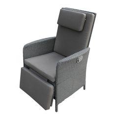 Relaxsessel Villanova - Polyrattan Grau/Textil Grau