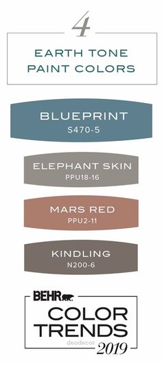 Get inspired for new ways to use the Behr 2019 Color of the Year, Blueprint, in your home with this collection of 4 earth tone paint colors. Featuring Behr Paint in Elephant Skin, Mars Red, and Kindli Best Bedroom Paint Colors, Kitchen Paint Colors, Living Room Paint, Living Room Colors, Living Rooms, Earth Tone Colors, Earth Tones, House Color Schemes, House Colors