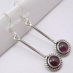 Zilveren GRANAAT MOOIE LANGE NIEUWE Dangle Oorbellen 4.6 CM Dangle Earrings, Pendant Necklace, Dangles, Jewelry, Bijoux, Jewlery, Jewels, Jewelery, Drop Earrings