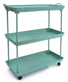 Painted Metal Trolley (aqua)