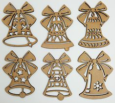 6 x wooden shapes, each is. Any laser processing marks can be removed by a light sanding or simply painting over. Christmas Tree Baubles, Christmas Bells, Christmas Tree Decorations, Xmas, Wooden Shapes, Decor Crafts, Gift Tags, Products, Xmas Tree Decorations