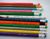 Literature-inspired pencils; I personalized these at Oriental Trading. literatureinspir pencil