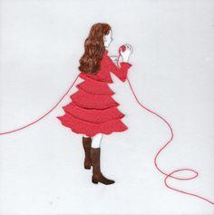 『誰かにつながる赤い糸 6』(シリーズ作品) アクリル絵具・トレーシングペーパー 15cm×15cm