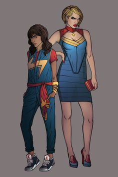 Ms Marvel and Captain Marvel  by chrispandart