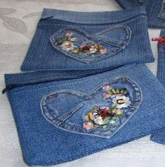 mini jean bag from embroidery on jeans