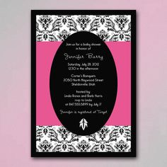 Hot Pink and Black Baby Shower Invites with Damask Pattern- also Bridal Shower Invites- You Choose Color Accents