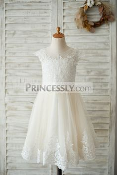 ae3223fb66e Ivory Lace Champagne tulle Cap Sleeves Wedding Flower Girl Dress with  Beading
