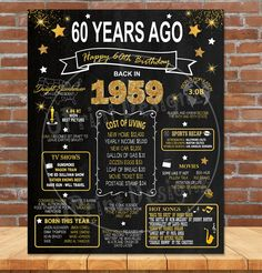 1960 Birthday Poster, Birthday Gift for her or him, Adult Birthday, GOLD Glitter Sign- Back in Year 1960 Digital Printable File – Gift Basket Ideas 60th Birthday Theme, 60th Birthday Ideas For Dad, 60th Birthday Party Decorations, Birthday Board, Mom Birthday Gift, 60 Birthday Party Ideas, Birthday Crafts, 60th Birthday Quotes, 60th Birthday Presents
