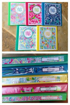Lilly print binders for college! Lilly print binders for college! Monogram Binder Covers, Preppy Binder Covers, School Binder Covers, School Lockers, School Binders, Cute School Supplies, Monogram School Supplies, Personalized School Supplies, School Essentials