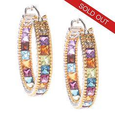 """143-173 - Gems en Vogue 6.16ctw 1"""" Princess Cut Multi Gemstone Hoop Earrings"""