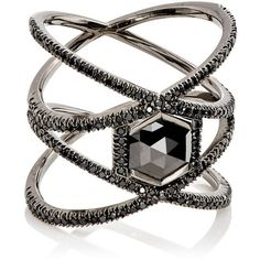 Eva Fehren Women's XX Ring (759.255 RUB) ❤ liked on Polyvore featuring jewelry, rings, accessories, black, no color, white gold jewellery, white gold pave ring, polish jewelry, handcrafted jewelry and 18k ring